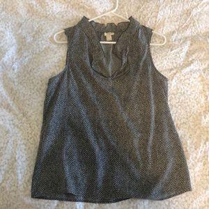 J. Crew ruffle neck sleeveless chevron blouse